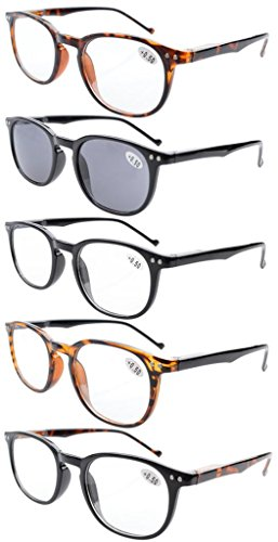 Eyekepper 5-Pack Spring Hinges80's Reading Glasses Includes Sun Readers - Readers 1.75