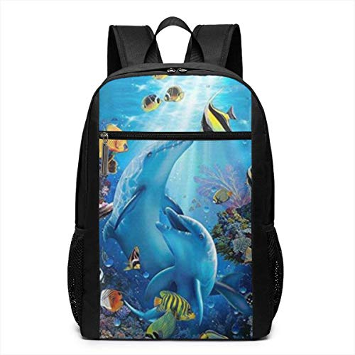 GHYGTY Blue Ocean Tropical Fish Dolphin Laptop Backpack,17 inch Laptop Backpack for High School Or College