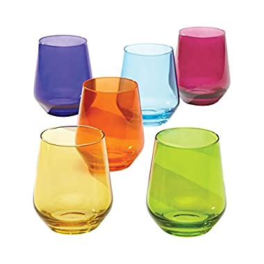 Lenox Tuscany Classics Cool Colors Stemless Wine Glass Set (Set of 6), Multicolor