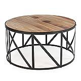 Drum Shaped Coffee Table Round Metal and Wood Drum Shaped Coffee Table New Sturdy Classic Elegant Furniture CHOOSEandBUY