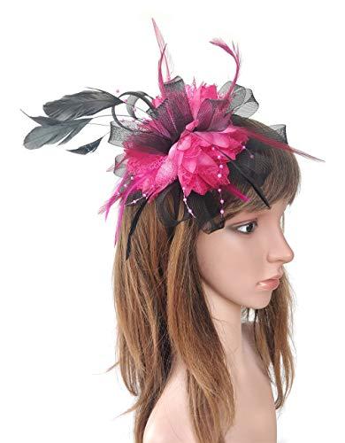 Ahugehome Women Fascinator Hair Clip Headband Feather Flower Cocktail Tea Party Headwear (B Black Rose Red Fuschia) ()