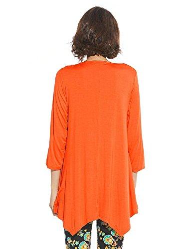 orange Mode Longue 3 T New et Femmes Col Hauts Rouge Lache Automne Blouse Tops Unie Rond Tee Couleur Shirts Manches 4 Irregulier Tunique Printemps Chemisiers qSBv5t