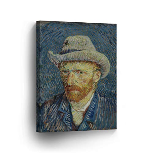 - Vincent Van Gogh Self Portrait with Grey Felt Hat, Winter 1887-88 Canvas Print Decorative Art Wall Décor Artwork Wrapped Wood Stretcher Bars - Ready to Hang -%100 Handmade in The USA - 12x8