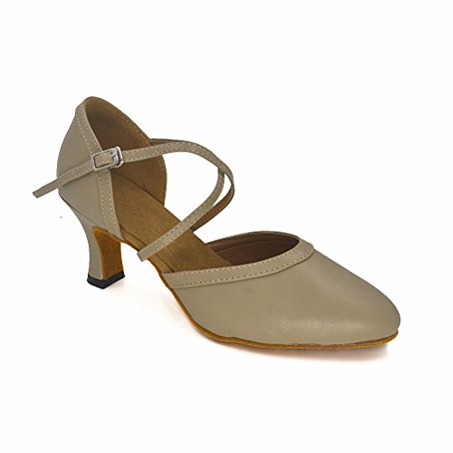 Misu Women's Closed toe Suede Sole Latin Salsa Tango Practice Ballroom Dance Shoes with 2.7