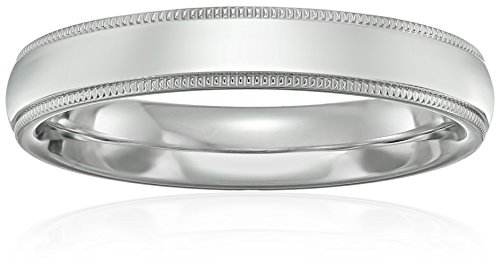 Standard Comfort-Fit Platinum Milgrain Band, 4mm, Size 8 by Amazon Collection