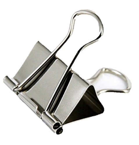 """1InTheOffice Large Metal Binder Clips, Silver, 2"""" Size with 1"""" Capacity -12 Clips (Large) (Silver)"""