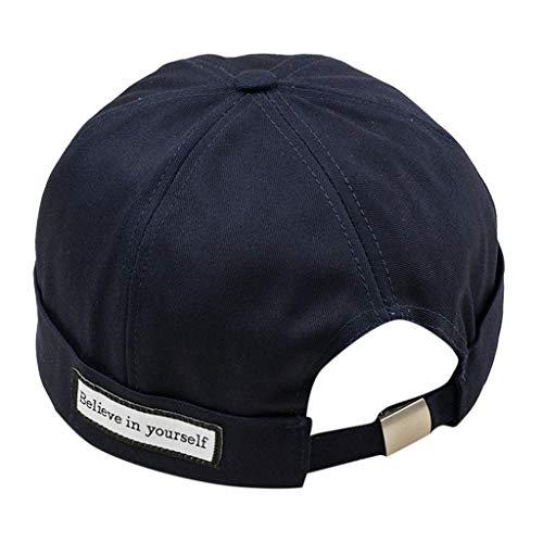 HYIRI Anti-Wearing Baseball Cap Men Women Hat Cap Casual Docker Sailor Mechanic Brimless Solid Color Navy]()