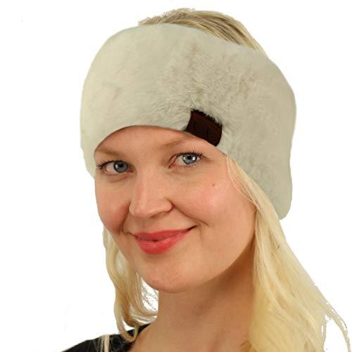 SK Hat shop All Furry Adjustable Faux Fur Sherpa Fleece Lined Headband Headwrap Solid Ivory
