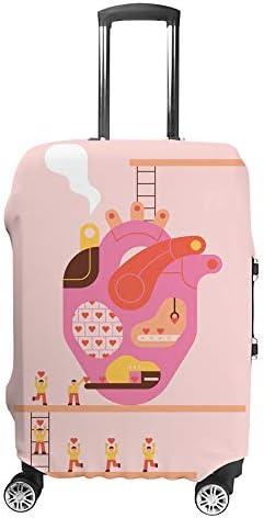 スーツケースカバー 心臓工場 オーダーメイド 伸縮素材 キャリーバッグ お荷物カバ 保護 傷や汚れから守る ジッパー 水洗える 旅行 出張 S/M/L/XLサイズ