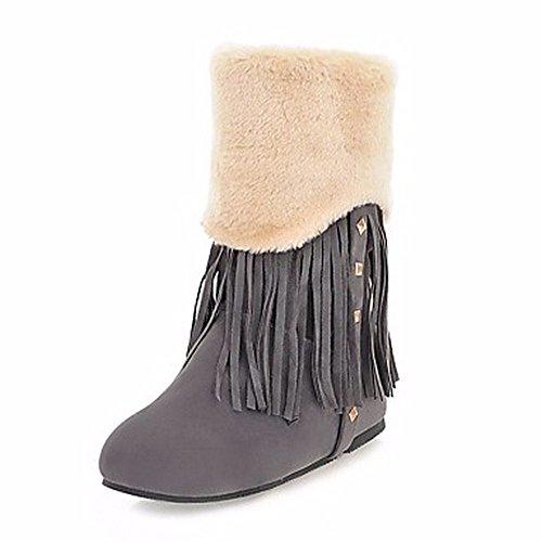 ZHUDJ Damen Schuhe Winter Komfort Snow Boots Runder Mid-Calf Stiefel Niet Quaste (S) Für Casual Mandel Braun Gray
