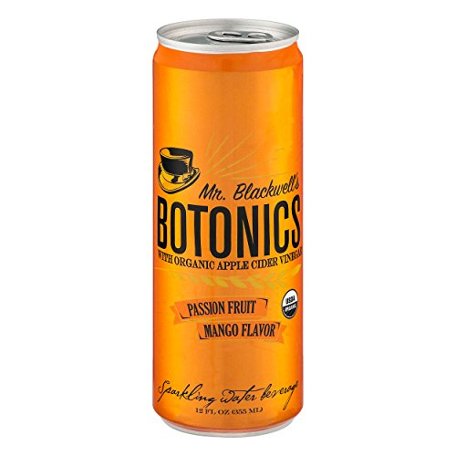 Mr. Blackwell's Botonics, Organic Sparkling Apple Cider Vinegar Ready To Drink Beverage, Passion Fruit Mango Flavor, 12 Ounce Cans, 12 Count