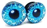 Blue Eye Ear Plugs - Acrylic - Screw on - NEWPair - 8 Sizes