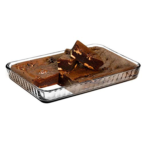 Glass Baking Dish for Oven, Casserole Dish, 16 in x 11 in Rectangular Baking Tray, Heat Resistant Borosilicate Glass Ovenware, 2 inches Height and 4-Quart Capacity Glass Cookware 1/2 Inch Rectangular Baking Dish