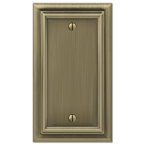 Amerelle Continental Single Blank Cast Metal Wallplate in Brushed Brass