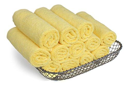 SALBAKOS Luxury Hotel & Spa Turkish Cotton 12-Piece Eco-Friendly Washcloth Set Bath, Yellow by SALBAKOS (Image #4)