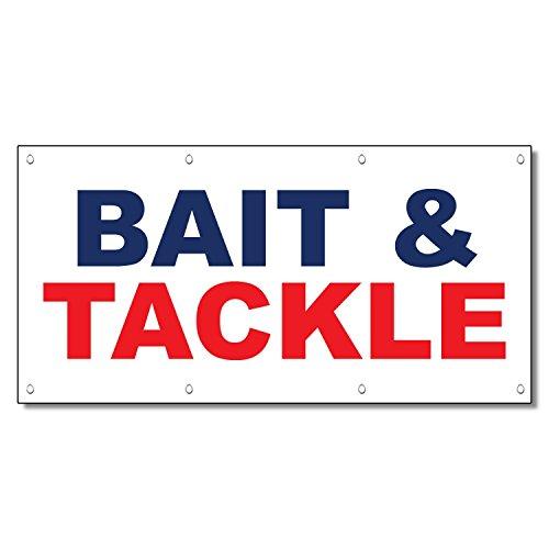 Bait Tackle Blue Red 13 Oz Vinyl Banner Sign With Grommets 4 Ft x 8 Ft