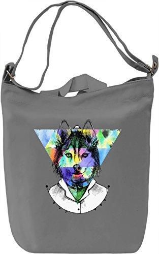 Wolf Triangle Borsa Giornaliera Canvas Canvas Day Bag| 100% Premium Cotton Canvas| DTG Printing|