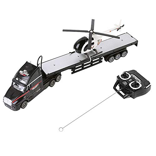 (ECCRIS Remote Control Big Rig with Helicopter RC Truck Vehicle with Trailer Toy Car, Black)