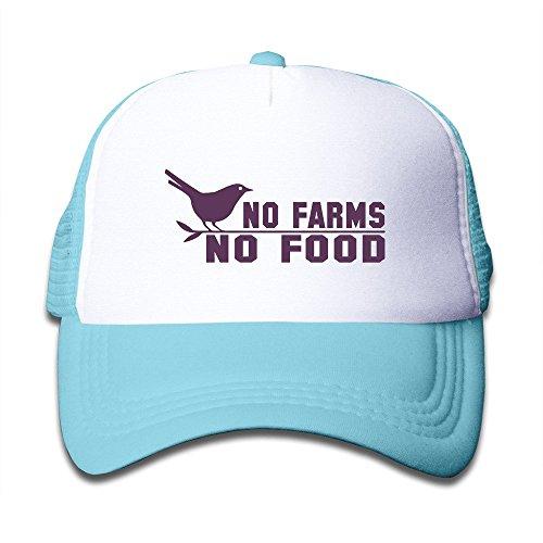 Kids Two Tone No Farms No Food Bird Adjustable Mesh Trucker Caps SkyBlue
