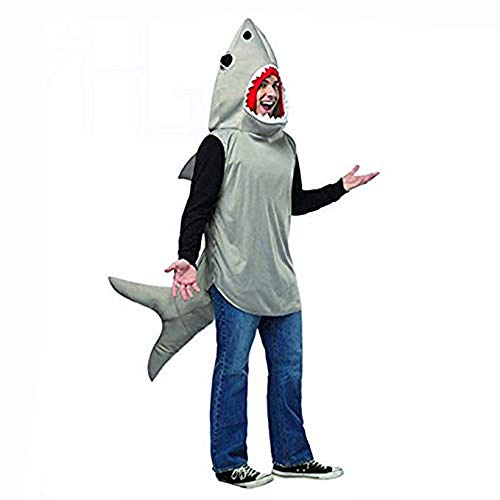MARGUERAS Adult Sand Shark Attack Costume Animal Unisex Jaws Fish Fancy Dress Outfit, Gray