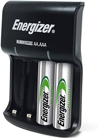 Energizer Recharge Basic Charger with 2 AA NiMH Rechargeable Batteries (integrated) LED Indicator