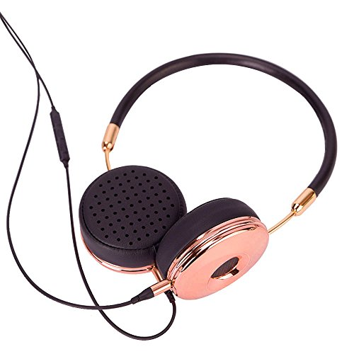 Liboer Cable Rose Gold Wired On-Ear Headphones with Volume Control Headband Design for iPhone Samsung Mobile Phone with Storage Case BH870 (Black Rose Gold)
