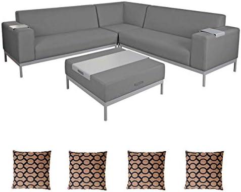 Mendler aluminio jardín de cama de HWC C47, sofá, Exterior impermeable, Grau mit Ablage, Kissen braun: Amazon.es: Jardín