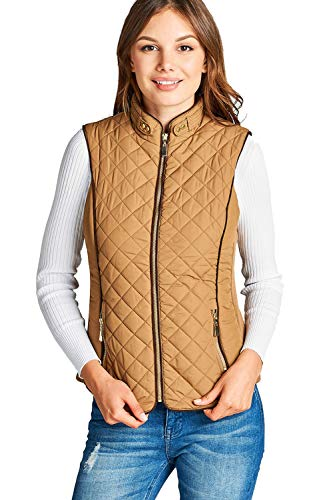 Lined Shearling Vest - Khanomak Women's Faux Shearling Lined Quilted Padding Vest (Camel, Large)