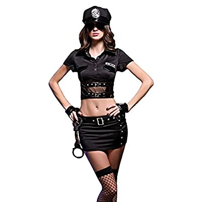 COCO RUNA Cool Black Womens Police Costume Lingerie 9 Piece Set