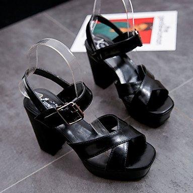 LvYuan Mujer Sandalias Lino PU Verano Paseo Combinación Tacón Robusto Negro Gris 7'5 - 9'5 cms Black