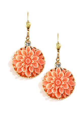 Clara Beau Swarovski Glass Crystal accented Goldtone Coral Color Resin Dahlia Earrings EC373 (Mother Nature Costume Homemade)