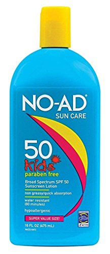 NO-AD Kids Sun Care Sunscreen Lotion, SPF 50 16 oz (Pack of 2)
