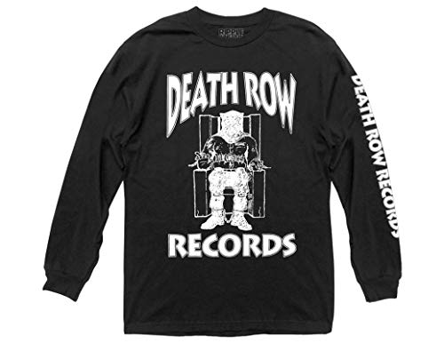 Ripple Junction Death Row Records Adult Unisex White Logo with Sleeve Hit Heavy Weight 100% Cotton Long Sleeve Crew T-Shirt