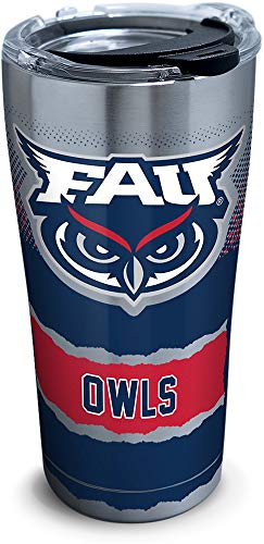 Tervis 1298662 Fau Owls Knockout Insulated Tumbler with Clear and Black Hammer Lid, 20 oz Stainless Steel, Silver ()