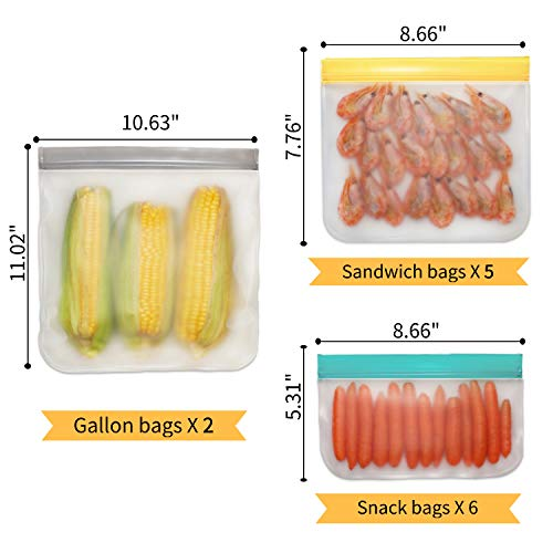 Jagrom Reusable Storage Bags (13 Pack) 2 Gallon & 5 Sandwich Lunch Bags & 6 Small Kids Snack Bags For Food, EXTRA THICK Leak Proof Reusable Food Bags, Freezer Bags, Reusable Ziplock Bags, BPA FREE