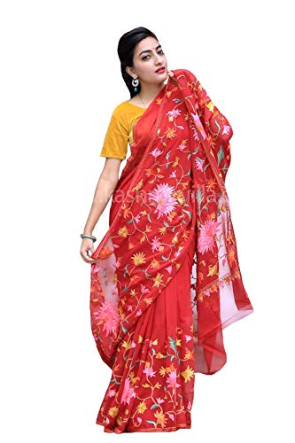 Kashmirvilla Ravishing Red Color Kashmiri Aari Work Embroidered Saree Enriched with Floral Paisley Pattern