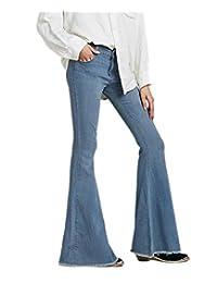 Cresay Women's Hippie Wide Leg Flared Bell Bottom Jeans