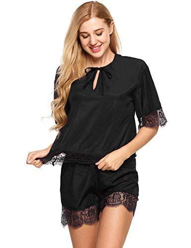 Encaje Dormir Manga El De Pijama Conjunto Ropa Verano Cómodo Hogar Elegantes Color Pijamas Sleepwear Respirable Negro Corta Para Sólido Mujer Splice Moda IxqBw0Eq5