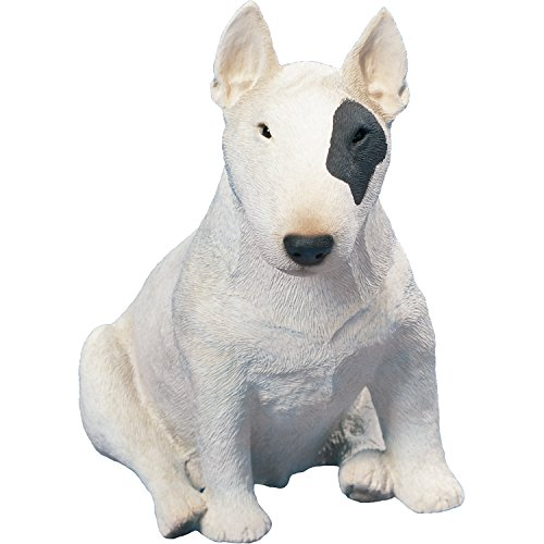 Bull Terrier Figurine - Sandicast Original Size Bull Terrier Sculpture, Siting, White