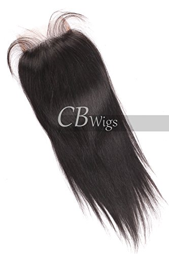 Cbwigs Natural Black Brazilian Virgin Unprocessed Human Hair Top Lace Closure Hair Pieces Bleached Knots with Baby Hair 4X4 Free Part (8 inch, Natural Straight)