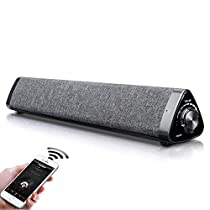 Bluetooth 5.0 Sound bar for TV, Fityou Wired and Wireless Home Theater Speaker with Remote Control for TV/Smpartphones/Decktop by USB-DAC/USB/TF(32GB), 2.0 Channel Soundbar with 2x5w Speakers, 2000mAh