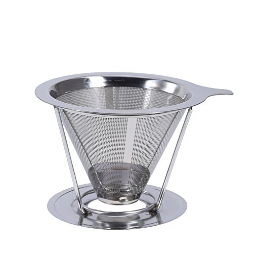 Filter Coffee - Portable Stainless Steel Tea Coffee Filter Dripper Cup Reusable Funnel Espresso Pour Over V Type - People Beans Pods Single Decoction 20 Steel Holder Style - Coffee Filter South Indian