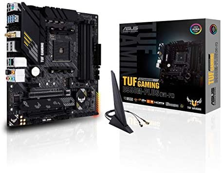 ASUS TUF Gaming B550M-PLUS (WiFi 6) AMD AM4 (third Gen Ryzen microATX Gaming Motherboard (PCIe 4.0, 2.5Gb LAN, BIOS Flashback, HDMI 2.1, USB 3.2 Gen 2, Addressable Gen 2 RGB Header and Aura Sync)