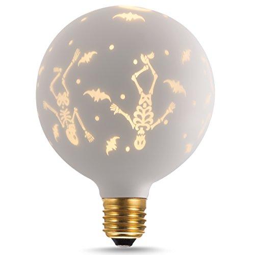 TGMOLD Halloween Skull Light, G125 Globe Decorative LED Light Bulb, Satin White Glass, Warm White 2700K, E26 Base Antique Novelty Lights for Holiday Christmas Party (Not (Lite Source Satin Ceiling Lamp)