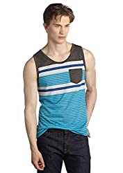 Red Camel® Mens Tank - Blue, White and Gray Stripes (Large)