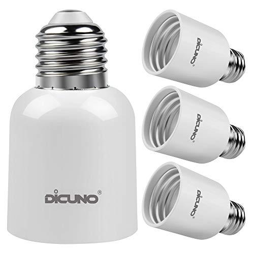 - DiCUNO E26 to E39 Adapter, Medium E26 to Mogul E39 Screw Base Light Bulb Socket Converter, Maximum 300W and 165℃ Heat Resistant 4Pcs