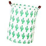 VircleK 19.7'' Large Sized Laundry Hamper Bucket Waterproof Coating Ramie Cotton Fabric Folding Storage Bins, Canvas Storage Basket for Kids Toys, Clothes, Bathroom, Bedroom Storage (Cute Cactus)