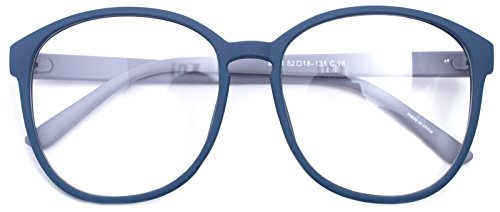 Oversized Big Round Horn Rimmed Eye Glasses Clear Lens Oval Frame Non Prescription (Matt Blue - Oval Eyeglasses
