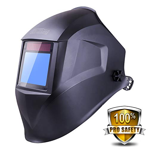 Solar Power Welding Helmet with Larger Viewing Area(3.94'x2.87'),Highest Optical Class (1/1/1/1), Wide Shade Range DIN 3/4-8/9-13, 6Pcs Extra Lenses, Grinding Feature for TIG MIG MMA Plasma - PAH03D