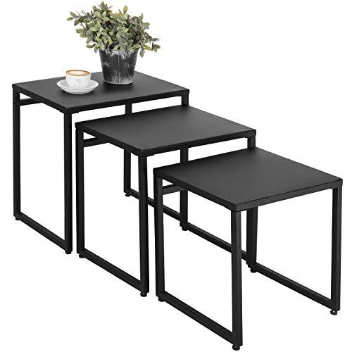 MyGift Set of 3 Black Metal Nesting End Tables ()
